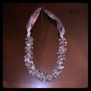 Elegant Grey Ribbon and Bead Necklace